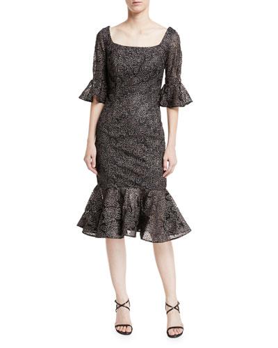 Scoop-Neck Lace Ruffle-Hem Cocktail Midi Dress