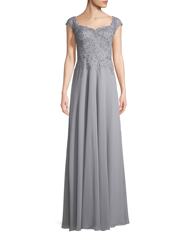 La Femme Crepe Chiffon Scoop-Neck Embellished Gown | Neiman Marcus