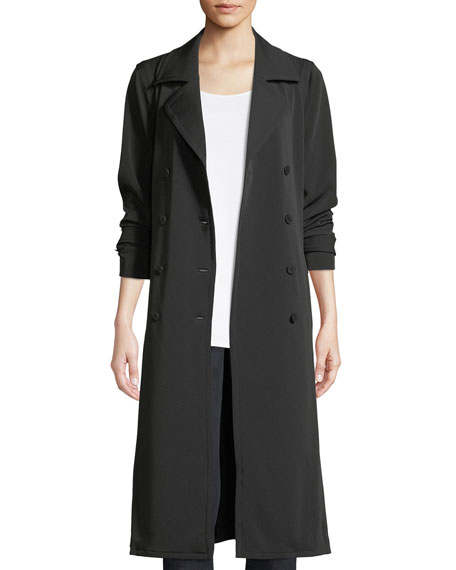 Eileen Fisher Long Double-Breasted Trench Coat