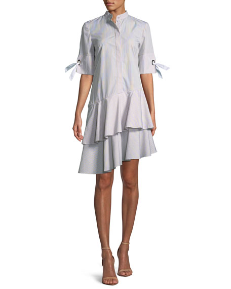 Carter Asymmetrical Striped Shirtdress with Sleeve Detail