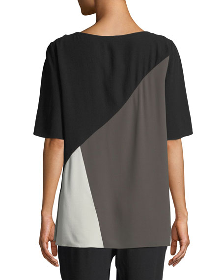 Short-Sleeve Colorblock Silk Top