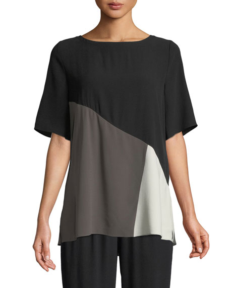 Eileen Fisher Short-Sleeve Colorblock Silk Top, Plus Size