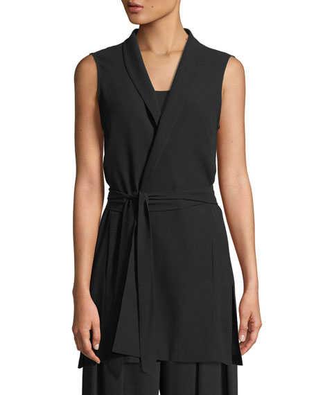 High-Collar Belted Long Silk Vest, Petite