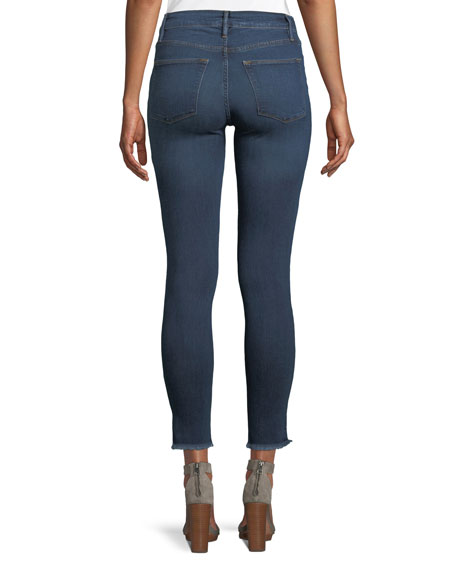 High-Rise Skinny Jeans w/ Triangle Hem