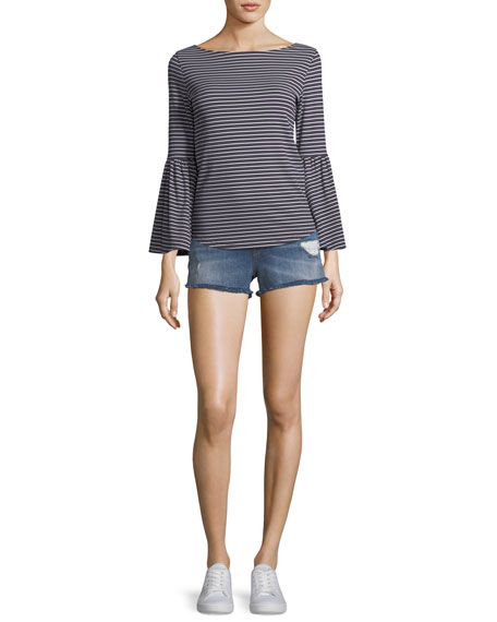 Boat-Neck Bell-Sleeve Striped Top