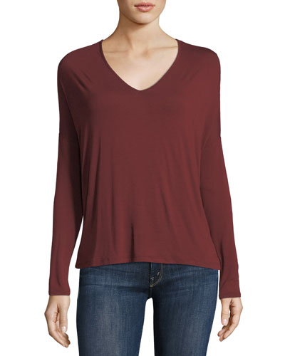 Soft Touch Long-Sleeve Relaxed V-Neck Tee