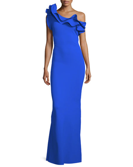 Elisir Ruffle One-Shoulder Gown