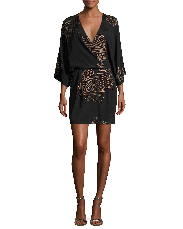 8bd0e080e615 Halston Heritage Kimono-Sleeve Faux-Wrap Printed Dress