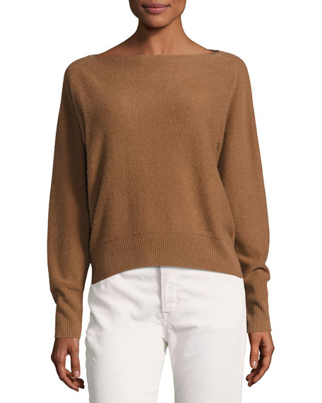 Boat-Neck Long-Sleeve Cashmere Sweater