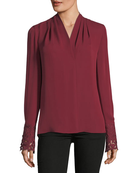Kobi Halperin Maura Pleated Long-Sleeve Stretch-Silk Blouse