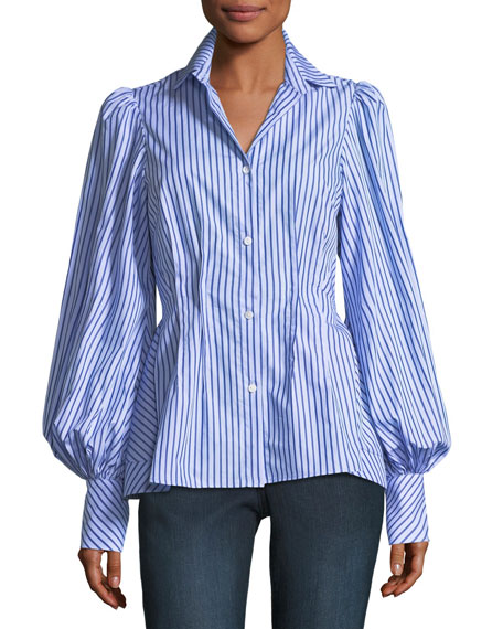 Waverly Striped Button-Front Blouson-Sleeve Cotton Shirt