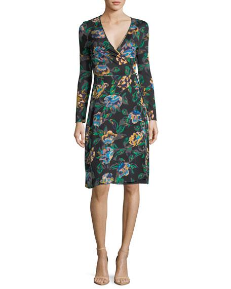 Diane von Furstenberg Floral-Print Long-Sleeve Side-Tie Wrap