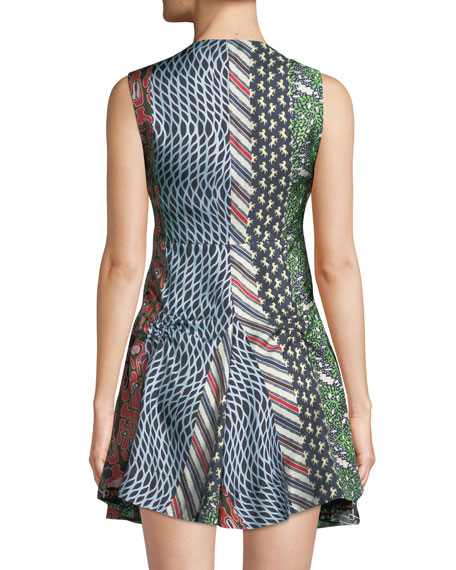 Mixed-Print Silk Flared Dress