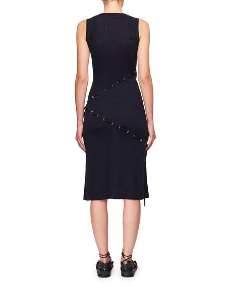 V-Neck Sleeveless Cord-Knit Dress w/ Asymmetric Drawstrings
