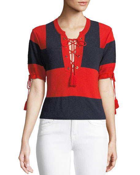 Carven Retro Rugby Short-Sleeve Sweater w/ Lace-Up Front