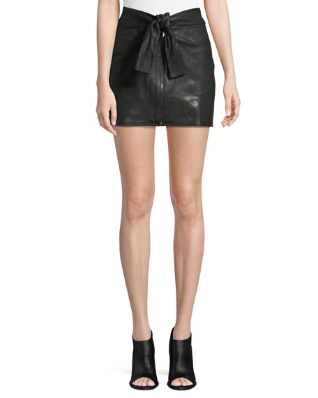 Waist-Tie Lamb Leather Mini Skirt