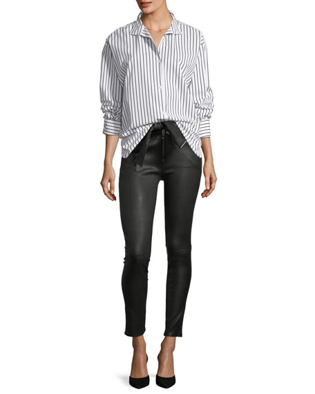 Waist-Tie Skinny Leather Pants
