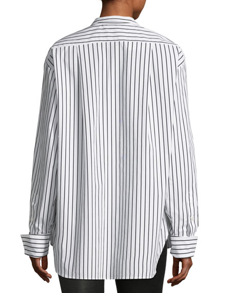 Clean Collared Button-Front Striped Cotton Oversized Shirt