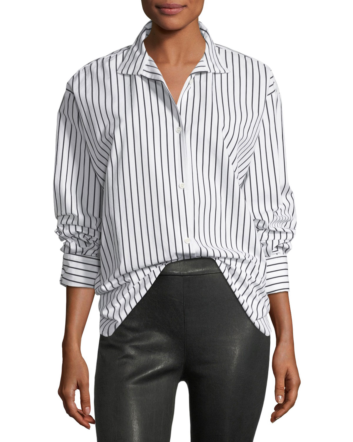 Frame Clean Collared Button Front Striped Cotton Oversized Shirt