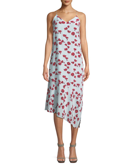 Equipment Jada V-Neck Sleeveless Floral-Print Slip Dress