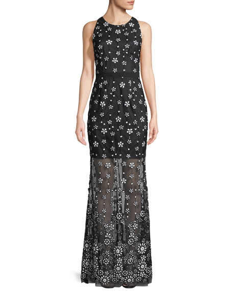 Illusion Sequin Sleeveless Gown