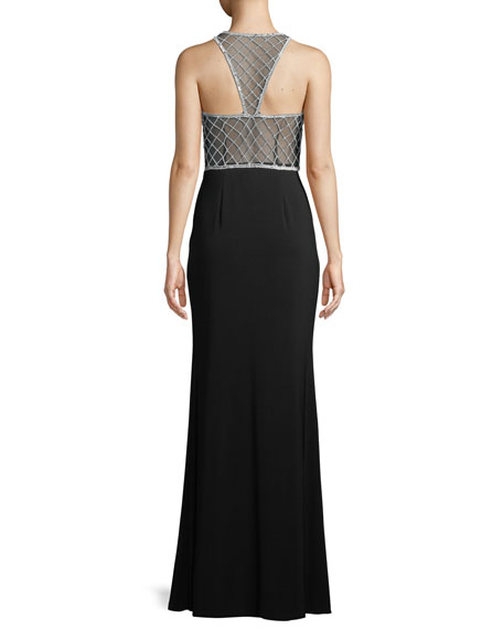 Sleeveless Beaded Jersey Illusion Gown