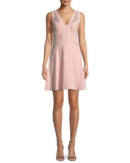 Aidan by Aidan Mattox Crepe and Lace Sleeveless