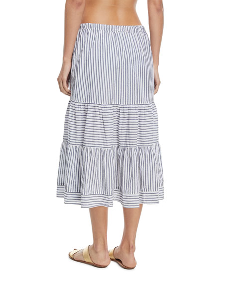 Malone Striped A-Line Coverup Skirt