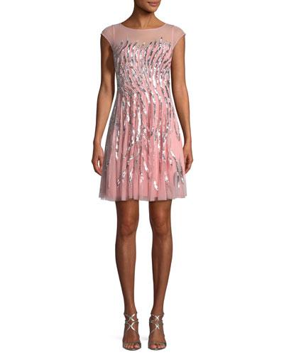 Sequin-Detail Mini Cocktail Dress