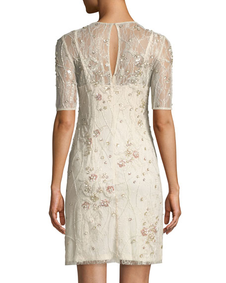 Beaded Lace Short Cocktail Dress
