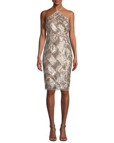 Grid Sequined Halter Cocktail Dress