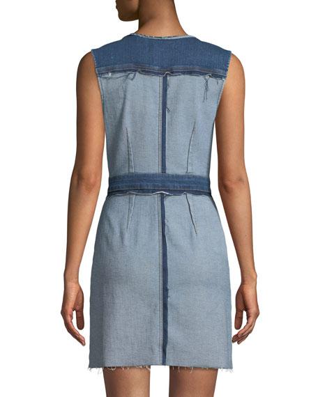 Inside-Out Button-Front Sleeveless Denim Dress