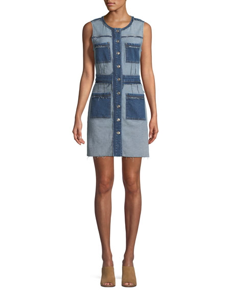 7 For All Mankind Inside-Out Button-Front Sleeveless Denim