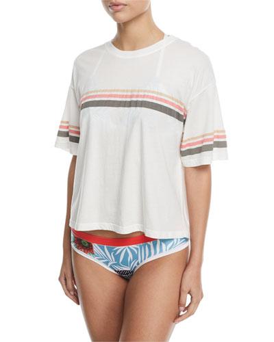 Jess Crewneck Short-Sleeve Cotton Tee with Stripes