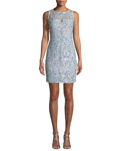 Beaded Lace Mini Cocktail Dress
