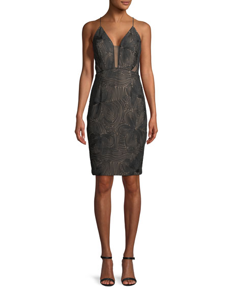 Aidan Mattox Sleeveless Soutache Cocktail Dress