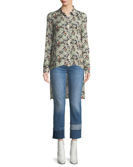 Edie Cropped Straight-Leg Jeans w/ Multi Fray Cuff