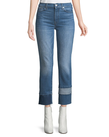 7 For All Mankind Edie Cropped Straight-Leg Jeans