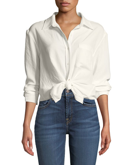 7 for all mankind Long-Sleeve High-Low Tie Shirt
