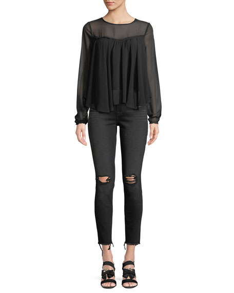 Aubrey Straight-Leg Jeans w/ Frayed Hem