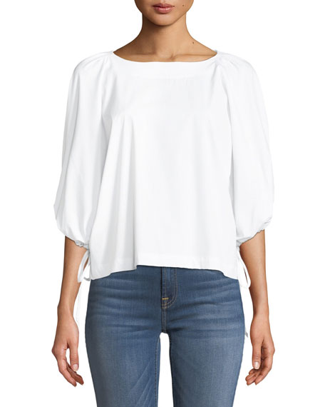 7 for all mankind Puff-Sleeve Tie Woven Top