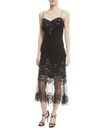 Strapless Embellished Illusion Cocktail Dress