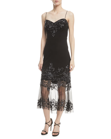 Aidan Mattox Strapless Embellished Illusion Cocktail Dress