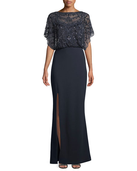 Aidan Mattox Embellished Split-Sleeve Gown