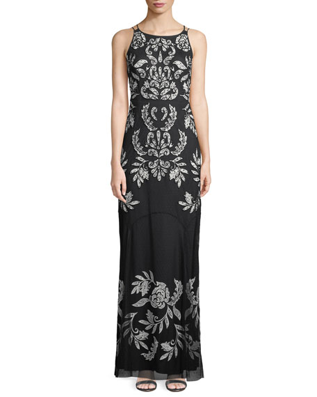 Aidan Mattox Double-Strap Floor-Length Gown