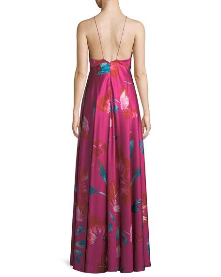 Macro Floral-Print Halter Gown