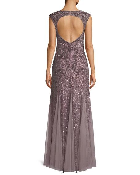 Open-Back Beaded Mermaid Gown