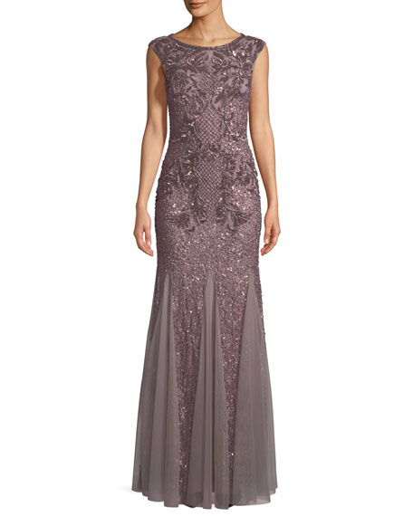Aidan Mattox Open-Back Beaded Mermaid Gown