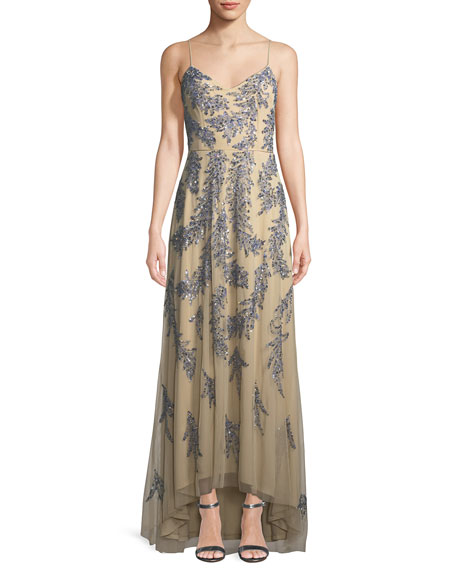 Aidan Mattox Sleeveless Beaded Gown