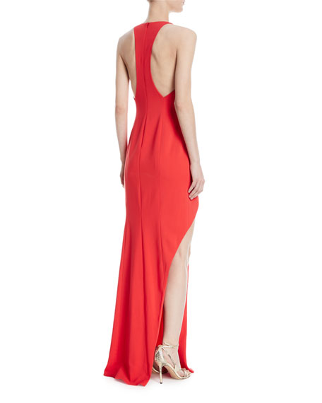 High-Slit Racerback Floor-Length Gown